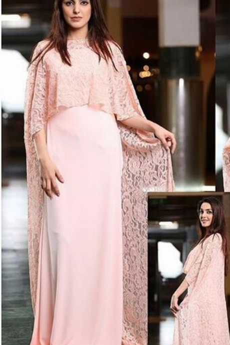 Pink Evening Dress, Dubai Kaftan, Muslim Kaftan, Lace Evening Dress, Saudi Arabic Evening Dress, Chiffon Evening