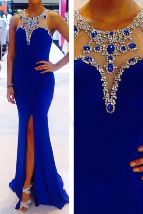 Long Evening Dresses,Royal Blue Evening Gowns,Mermaid Party Dresses,Prom Dresses