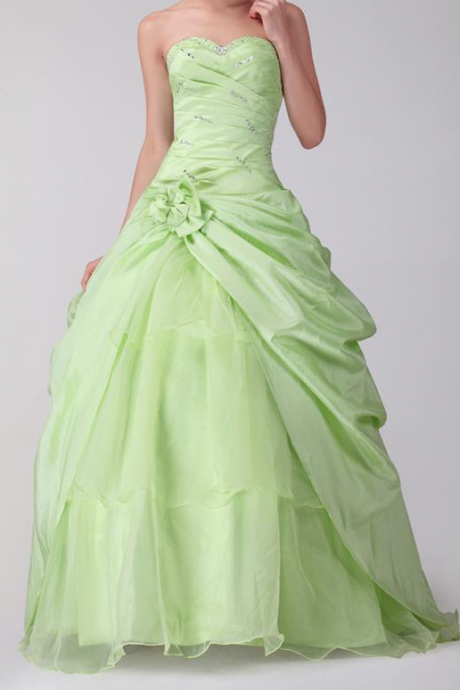 Evening Dress,Quinceanera Dresses,Ball Gown Evening Dresses,Sweet 16 Dresses,Light Green Prom Dresses,