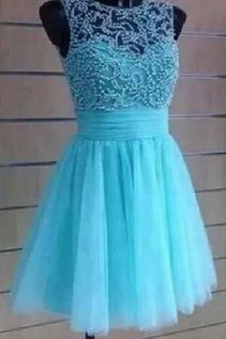 Beading Blue Graduation Dresses, Real Made Evening Dresses,Chiffon Sequins Evening Dresses