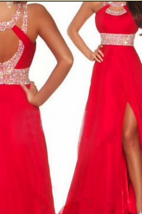 Prom Dresses Sexy Red Beads Rhinestones Side Slit Chiffon Long Evening Dresses