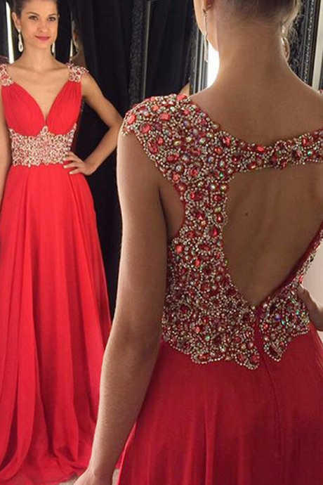 Elegant V-Neck Prom Dresses,Empire Beading Evening Dresses,Open Back Chiffon Dress