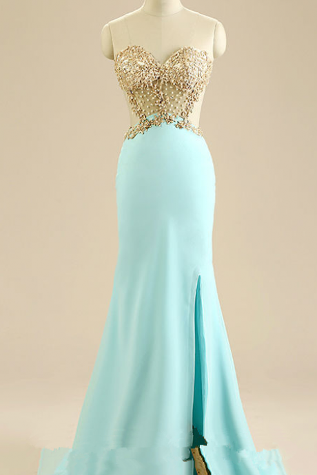 Front Slit Prom Dresses, Mermaid Evening Dresses,Champagne Appliques Sweetheart Dress
