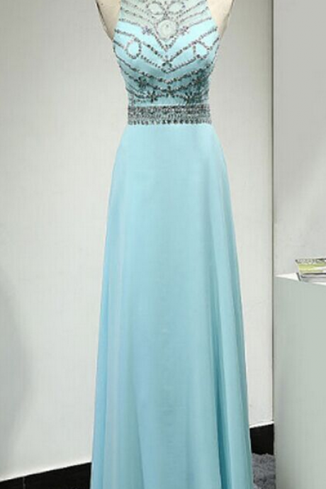 Pretty High Neckline Prom Dresses,Long Evening Dresses,Chiffon Prom Dresses,Backless Prom Dresses
