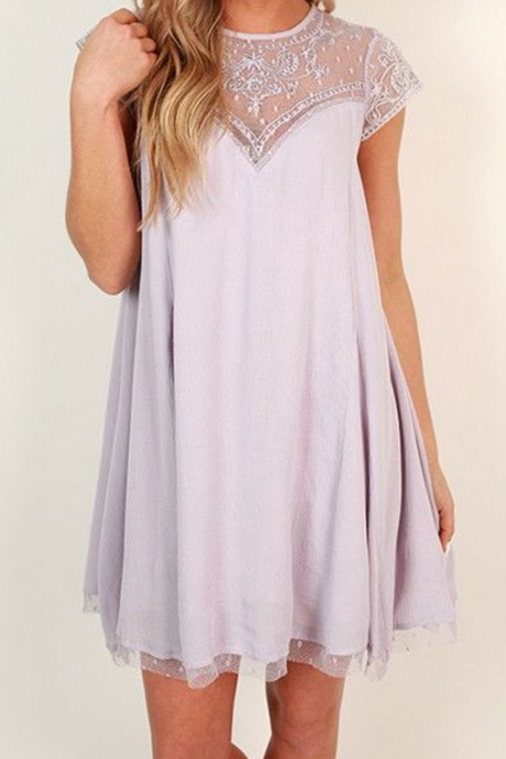 Cute Lilac Homecoming Dress,Short Sleeve Prom Dress, Tulle Casual Dresses, Lilac Formal Dresses,