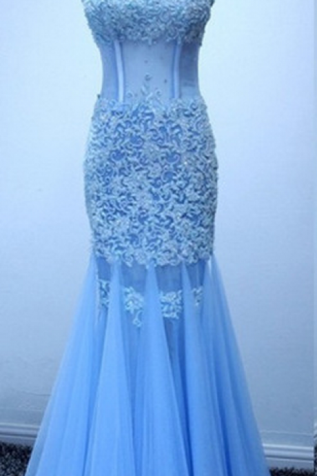 Strapless Sweetheart Sheer Lace Appliqués Mermaid Long Prom Dress, Evening Dress Featuring Lace-Up Back