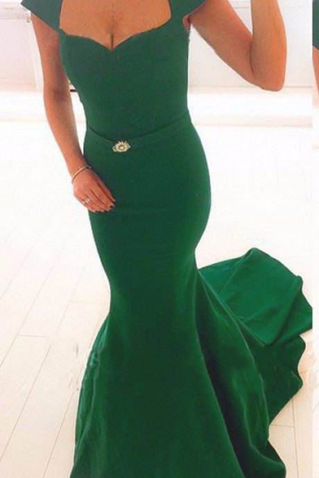 Charming Satin Green Mermaid Prom Gowns, Green Cap Sleeve Prom Dresses