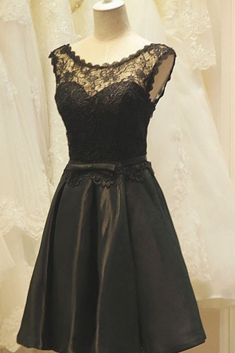 A-Line Crew Neck Black Satin Homecoming Dress with Lace,Short Homecoming Dresses