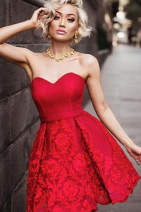 Sweetheart Red/White Homecoming Dresses, Satin Short Homecoming Dress