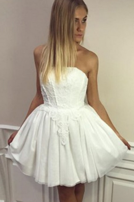 White Chiffon Homecoming Dresses, Short A-Line Homecoming Dresses, Party Dresses
