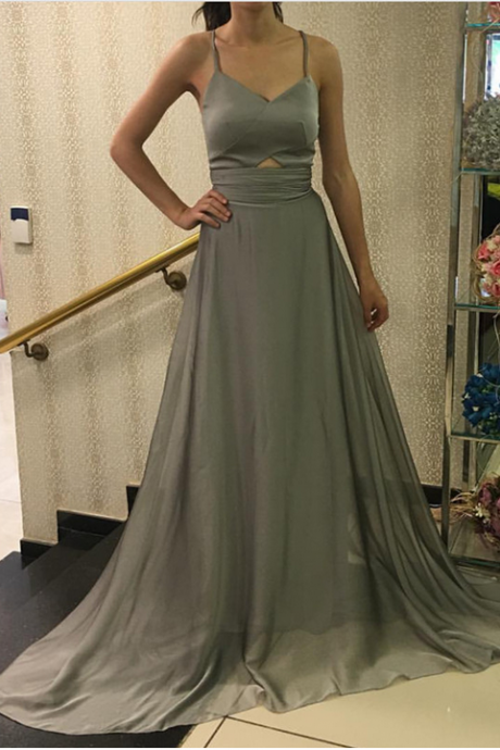 Silver Bridesmaid Dress,Open Back Evening Gowns,Long Prom Gowns