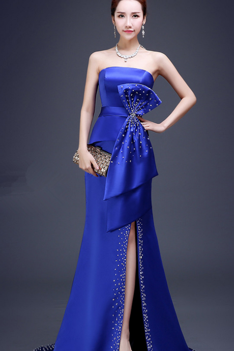 Royal blue satin beaded crystal sexy prom dresses sleeveless bow evening gown