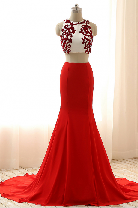 Red Two-Piece Mermaid Long Prom Dress, Evening Dress
