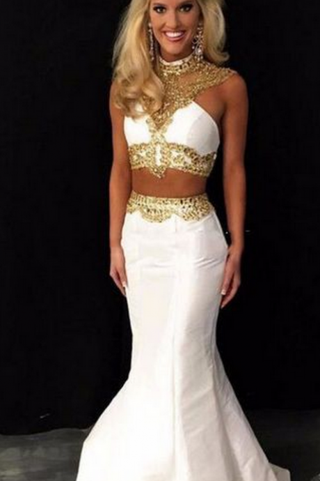 Prom Dresses,Evening Dress,2 Piece Prom Gown,Two Piece Prom Dresses,2 Pieces Party Dresses,Satin Evening