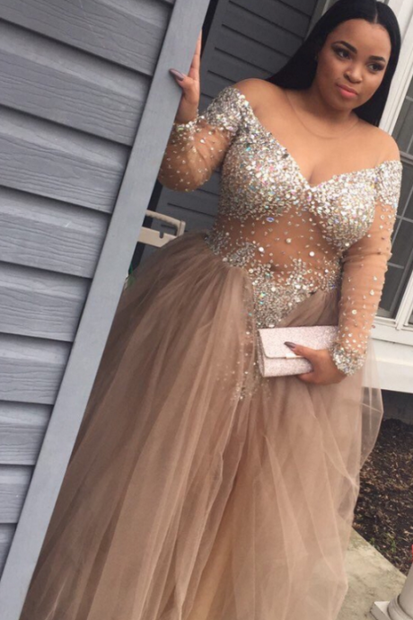Plus Size Custom Made Beading Prom Dresses, Floor-Length Evening Dress,Prom Dresses,