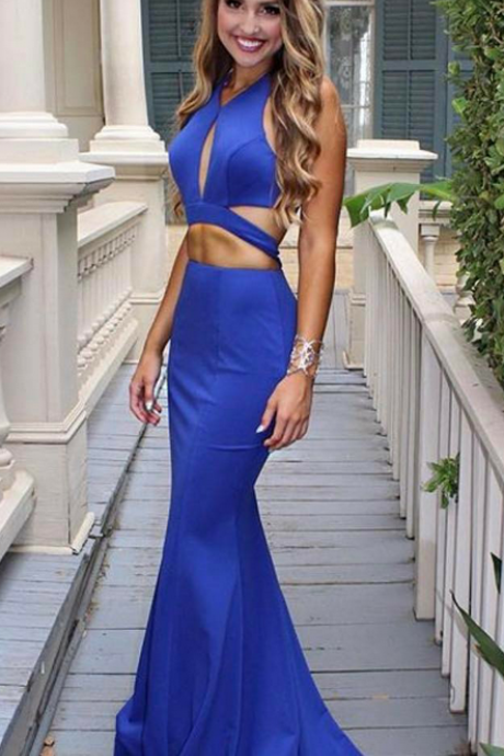 Sexy Royal Blue Mermaid Evening Dress Long Keyhole Neck Backless Party Gowns Vintage Beach Formal Prom Dresses