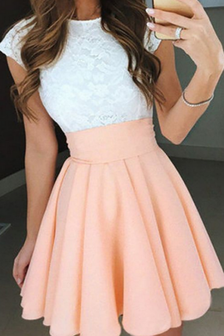 Pink Homecoming Dresses,Lace Homecoming Dress,Short Homecoming Dress