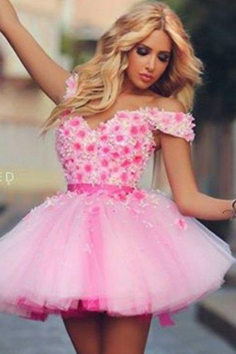 Sweetheart 3D Flowers Homecoming Dresses, Cheap Homecoming Dresses, Juniors Homecoming Dresses