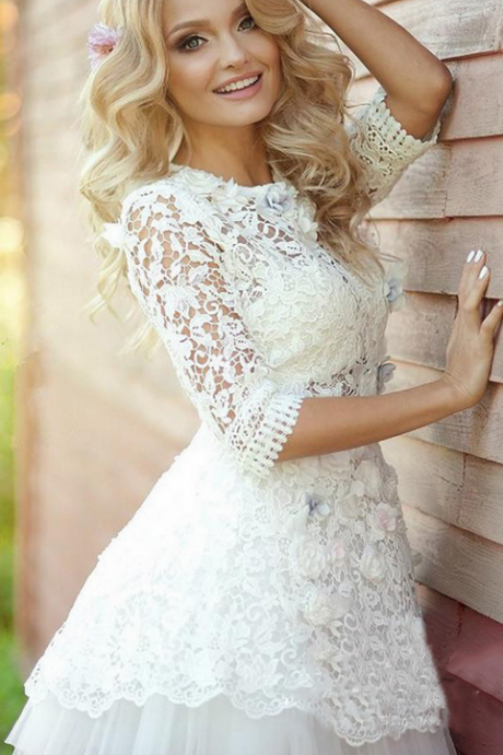 Long Sleeve Homecoming Dress,Lace Homecoming Dresses,Applique Tulle Homecoming Dresses