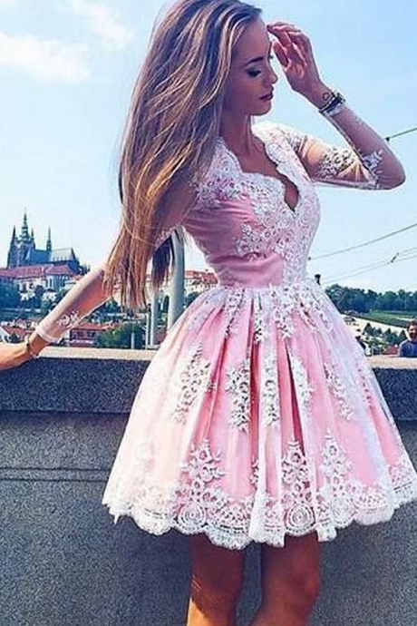 lace homecoming dress pink homecoming dress,