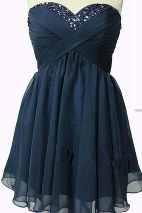 Classy Navy Blue High Low Homecoming Dresses,Chiffon Homecoming Dresses,