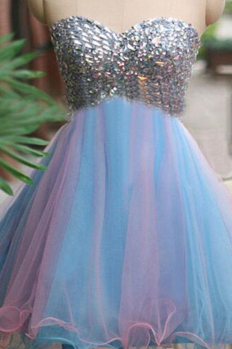 Rhinestones sparkly strapless unique sweetheart tight freshman homecoming prom dress