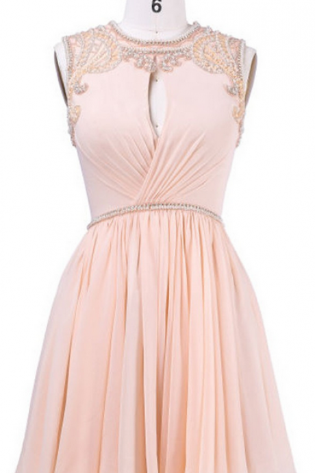 A-line Coral Homecoming Dresses,Scoop Short Homecoming Gown,Chiffon Homecoming