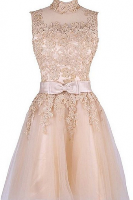 Bowknot Prom Dress,Lace Homecoming Dress, Cheap Homecoming Dresses,