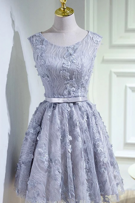 Vintage Lace Homecoming Dress,Silver Short Prom Dress,