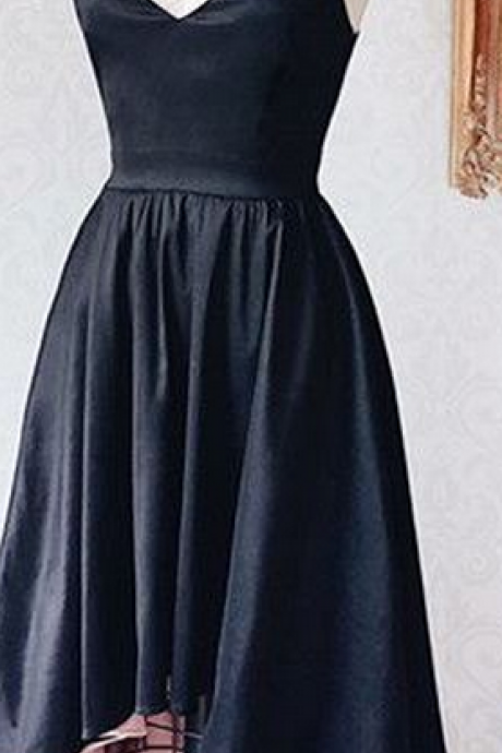 Black Deep V Neck Summer Party Sexy Strapless Homecoming Dress