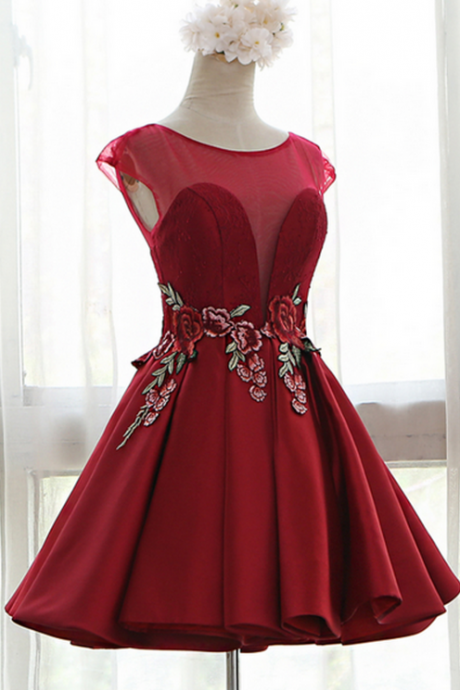 Red Sweetheart Illusion Cap Sleeves Floral Embroidery A-Line Pleated Dress with Open Back and Lace-up Detailing
