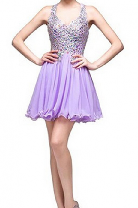 Halter Beaded Short Homecoming Dress, Prom Dress, Party Dress