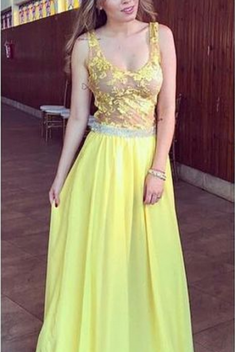 Yellow Prom Dress,Chiffon Prom Dress,Backless Prom Dress,Fashion Prom Dress,Sexy Party Dress