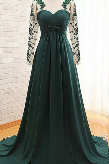 Dark Green Sexy Illusion Long Sleeves Mother of the Bride Groom Dresses Cheap Long Chiffon Evening Dress