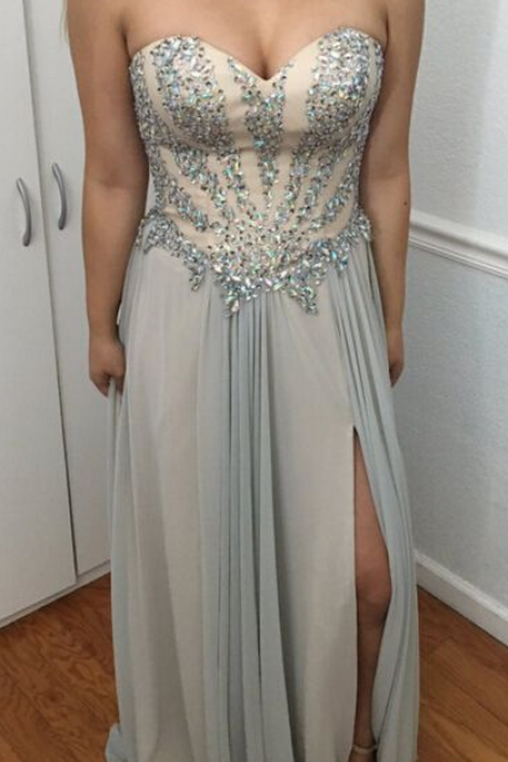 Beaded Embellished Sweetheart Floor Length Chiffon A-Line Prom Dress Featuring Slit