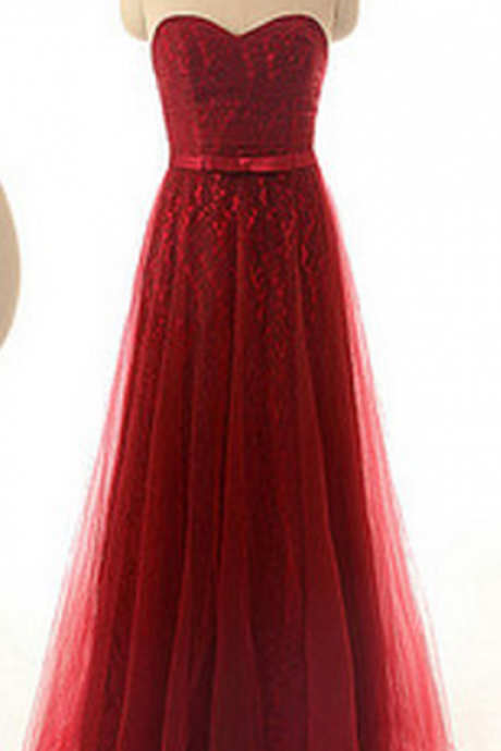 Red Lace Sweetheart Floor Length Tulle A-Line Prom Dress Featuring Bow Accent Belt