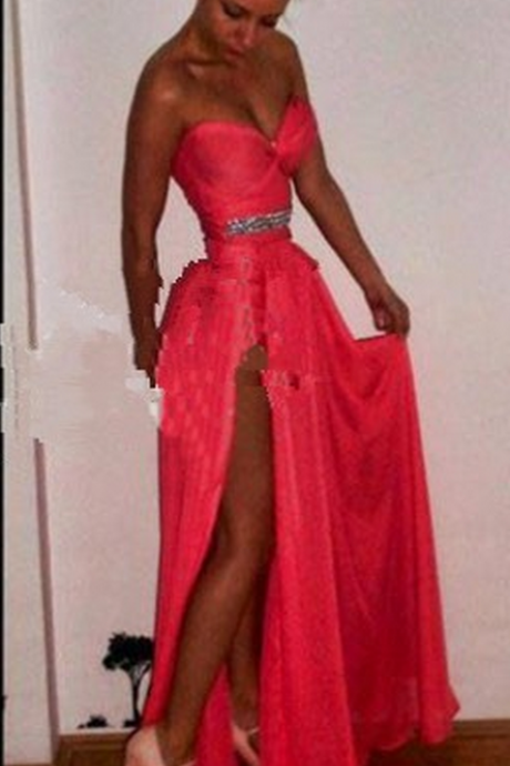 Hot Pink Short Sheath Chiffon Prom Dresses With Detachable Split Side Train Sweetheart Beaded Belt Homecoming Gowns