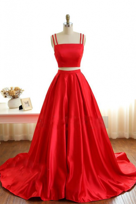 Prom dresses ,Gorgeous Red Satin Two Piece Straps Prom Gowns, Red Prom Gowns, Two Piece Party Dresses