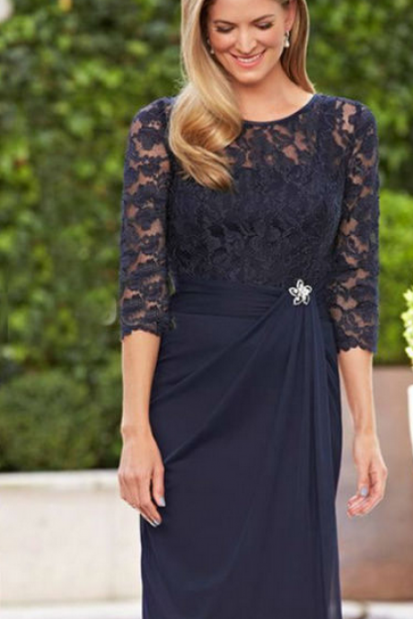 New Navy Blue Lace Short Mother of the Bride Dresses Formal Party Bridal Dresses
