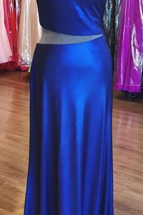 One Shoulder Prom Dress, Royal Blue Prom Dresses Party Dresses Formal Dresses