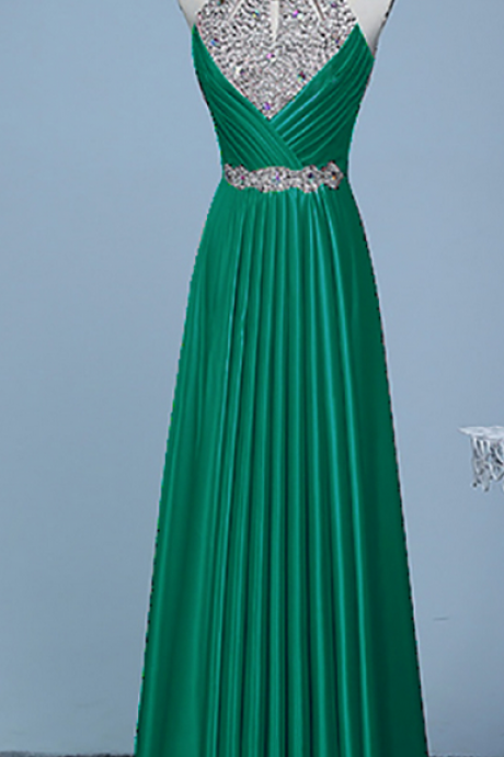 Hot Sale Real Photos Prom Dress,Sleeveless Prom Dresses,Crystal and Beads Prom Dresses,