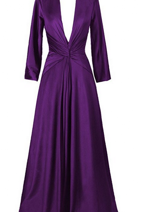 Plunging V Ruched Long Prom Dress, Evening Dress with Long Sleeves