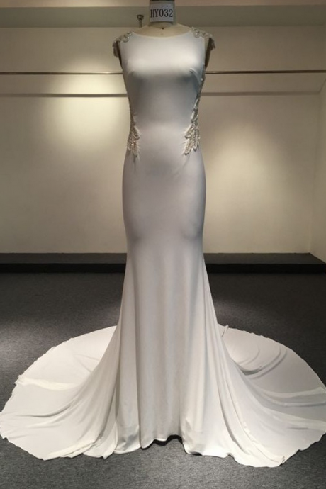 Evening Dresses High Neck All White Sexy Backless Jersey Mermaid Prom Dress Hy032 Real Sample