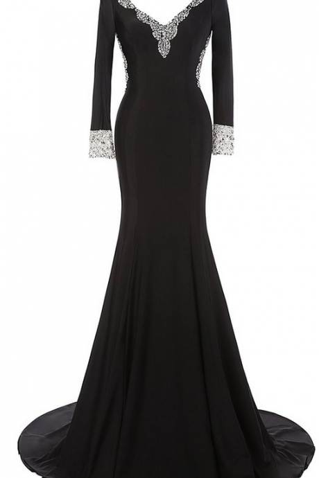 Black Sexy Long Prom Dresses,New Long Sleeves Evening Dresses