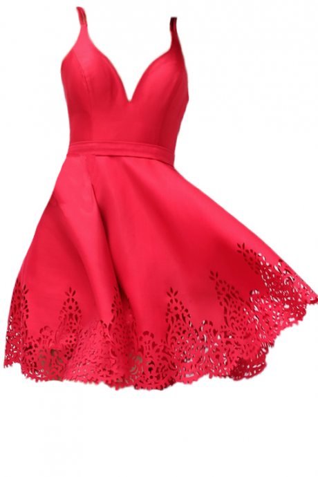 Custom Made Red V-Neckline A-Line Homecoming Dress with Cut Out Detailing
