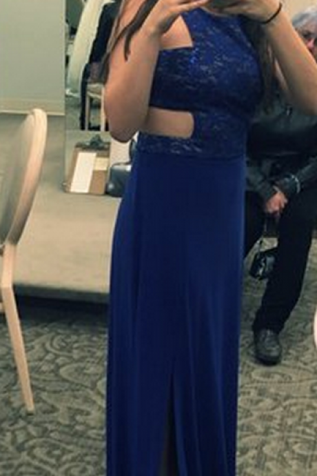 Sexy evening dress,royal blue lace prom gown,long homecoming dress, o neck formal dress for women