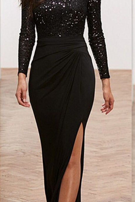 Evening Dress,Sequin-Satin Eevning Dress,Long Sleeve Evening Dress,Black Evening Dress,
