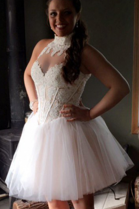 ,Lace Homecoming Dresses,Short Homecoming Dress, White Homecoming Dress
