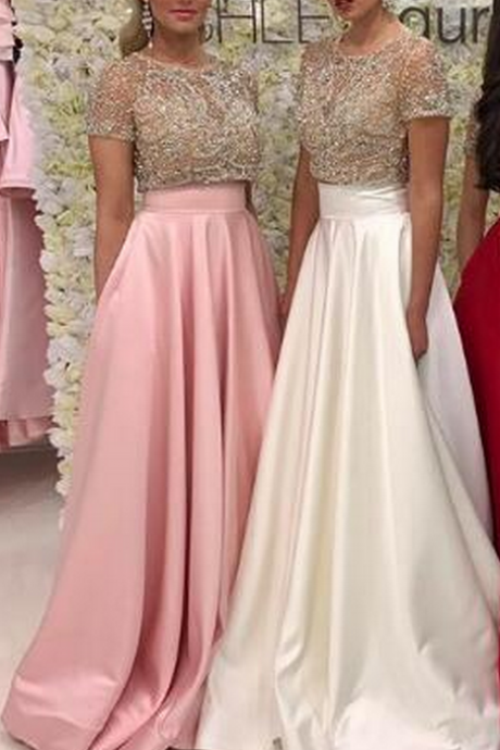 Sexy Two Pieces Prom Dress Evening Dress Pink/White/Red A-line Cap Sleeves Long Satin Prom Dresses Evening Dresses Formal Dress