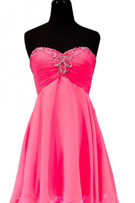 Pink Homecoming Dresses Zippers Sleeveless Chiffon Mini Sweetheart Neckline Empire